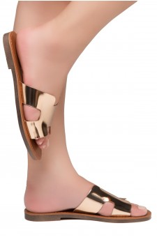HerStyle Greece- Lightweight Flat Easy Slide-On Sandals (RoseGold)