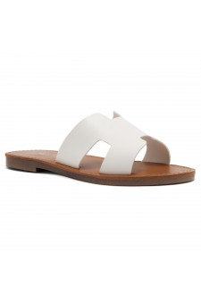 HerStyle Greece- Lightweight Flat Easy Slide-On Sandals (White)