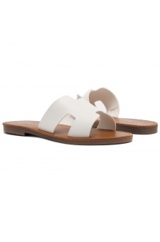 Shoe Land SL-Greece- Lightweight Flat Easy Slide-On Sandals (White)