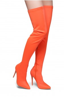 HerStyle Haute Moment-Pointed toe, stiletto heel, thigh high construction, side zipper closure (Orange)