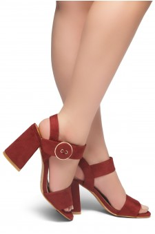 HerStyle HE GOT GAME- Ankle Strap Chunky Heel (Burgundy)
