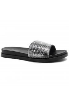 HerStyle Heated-Open Toe Jewelled Embellishment Slide Sandal (Black)