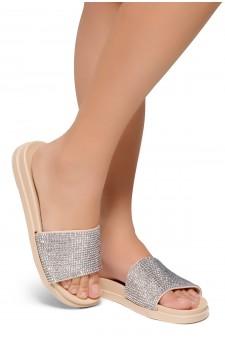 HerStyle Heated-Open Toe Jewelled Embellishment Slide Sandal (Nude)