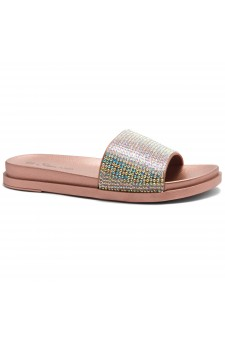 HerStyle Heated-Open Toe Jewelled Embellishment Slide Sandal (RoseGold)