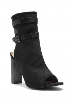 HerStyle Ibinna Chunky heel Cutout Booties (BlackBlack)