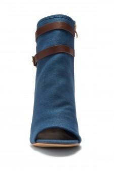HerStyle Ibinna Chunky heel Cutout Booties (BlueBrown)