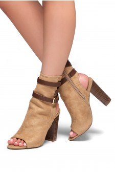 HerStyle Ibinna Chunky heel Cutout Booties (CamelBrown)