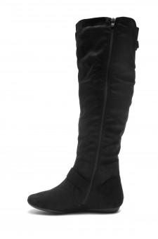 HerStyle Derserve Thigh High Suede round toe flat boots (Black)