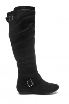 HerStyle Ieshia Thigh High Suede round toe flat boots (Black)