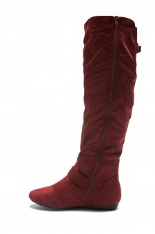 HerStyle Ieshia Thigh High Suede round toe flat boots (Burgundy)