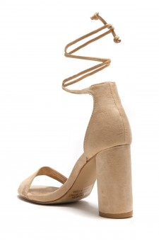 HerStyle Women's Manmade Imelida. Cylindrical heel with a petite bow at the ankle - Tan