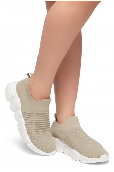 HerStyle IN CROWD--Knit Fabric Fitted Slip-On Laceless Sneakers (Camel)