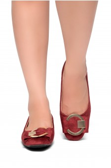 HerStyle Indro-Square Almond toe with grommet buckle ballerinas (Burgundy)