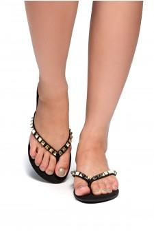 HerStyle Inloving-Stud Flip Flops (Black)