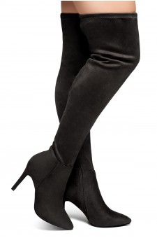 HerStyle Intecy-Pointed toe, stiletto heel, thigh high construction, rear lace tie (Black)