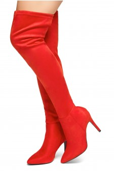 HerStyle Intecy-Pointed toe, stiletto heel, thigh high construction, rear lace tie (Red)