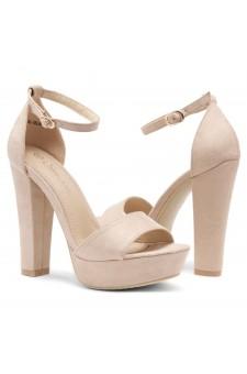 HerStyle Island-Chunky heel, Adjustable Ankle Strap (Beige)