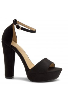 HerStyle Island-Chunky heel, Adjustable Ankle Strap (Black)