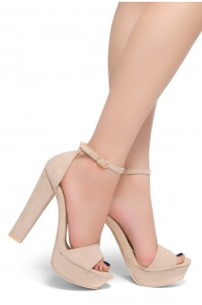 HerStyle Island-Chunky heel, Adjustable Ankle Strap (Blush)