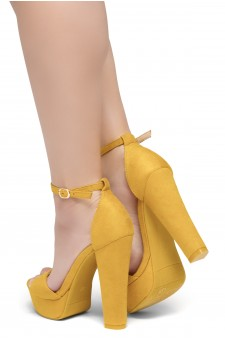 HerStyle Island-Chunky heel, Adjustable Ankle Strap (Mustard)