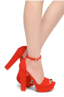 HerStyle Island-Chunky heel, Adjustable Ankle Strap (Red)