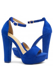 HerStyle Island-Chunky heel, Adjustable Ankle Strap (RoyalBlue)
