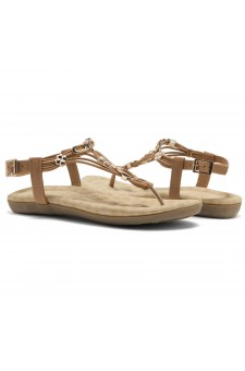 Shoe Land Issy-Manmade Women's Flat Sandal with Flirty Metallic Accents (Tan)