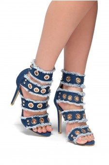 HerStyle Jany Grommets Embellished Strappy Frayed Denim