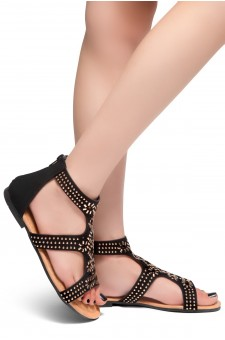 HerStyle Jenee-Open Toe Close Back Sandal with Shining Gold-Tone Accents (Black)
