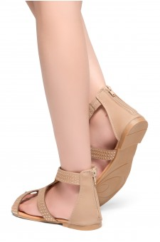 HerStyle Jenee-Open Toe Close Back Sandal with Shining Gold-Tone Accents (Tan)