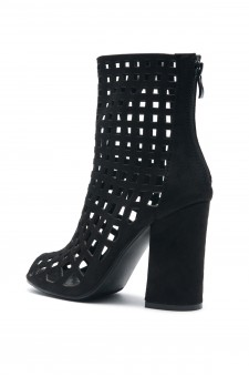 Women's Black Jerillan Chunky Heel Booties with elastic gusset wraparound detail at vamp