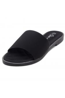 Shoe Land Joli Women's Open Toe Flat Sandals Slide Slip On Shoes (2022Black)