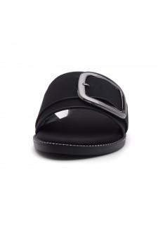 Shoe Land Joli Women's Open Toe Flat Sandals Slide Slip On Shoes (Black)