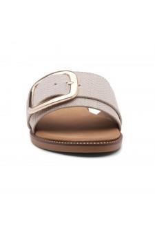 Shoe Land Joli Women's Open Toe Flat Sandals Slide Slip On Shoes (NudeFB)