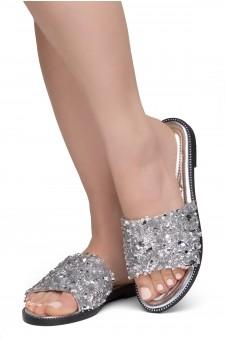 Shoe Land Joli Women's Open Toe Rhinestone Flat Sandals Glitter Slide Slip On Shoes (SilverSQ)