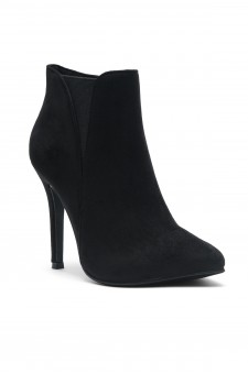 Women's Black Jolinnee Suede Pointy Toe stiletto Heeled Ankle Booties