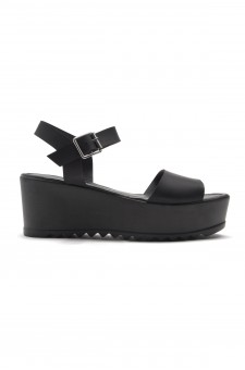 HerStyle  Women's Jolliee  Open Toe Ankle Strap platform Wedge  (Black)