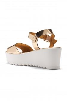 HerStyle  Women's Jolliee  Open Toe Ankle Strap platform Wedge (Rose Gold)