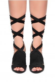 HerStyle - SL-Joyce-Chunky heel, ankle lace-up (Black)