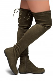 HerStyle Julius Women's Fashion Drawstring thigh high Flat Boots (Olive)