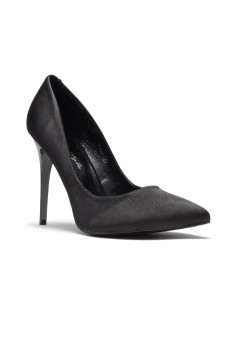 HerStyle Kaali Satin pointed toe, stiletto heel (Black)