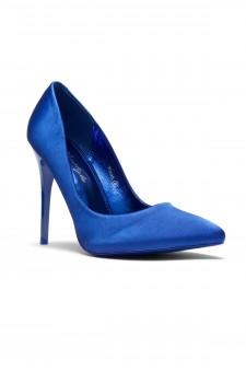 HerStyle Kaali Satin pointed toe, stiletto heel (Royal Blue)