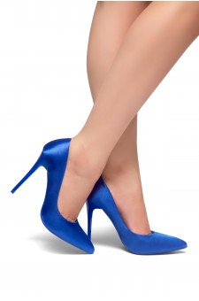 HerStyle Kaali Satin pointed toe, stiletto heel (Royal Blue)