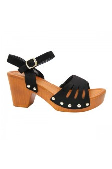 Women's Black Manmade Karrey 3-inch Heeled Sandal with Silver Studs