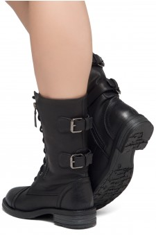 ShoeLand KASEY-Women's Military Lace Up Front, Zipper, Double Buckled, Combat Boots (Black)