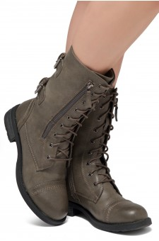 ShoeLand KASEY-Women's Military Lace Up Front, Zipper, Double Buckled, Combat Boots (Grey)