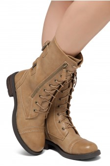 ShoeLand KASEY-Women's Military Lace Up Front, Zipper, Double Buckled, Combat Boots (Khaki)