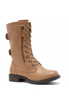 ShoeLand KASEY-Women's Military Lace Up Front, Zipper, Double Buckled, Combat Boots (Mauve)