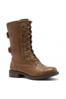 ShoeLand KASEY-Women's Military Lace Up Front, Zipper, Double Buckled, Combat Boots (Tan)