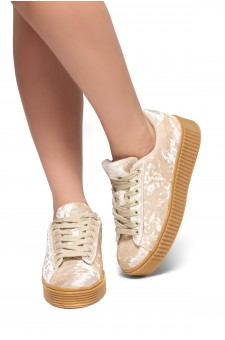 Women's  Platform Creeper Sneaker KATE (Beige)